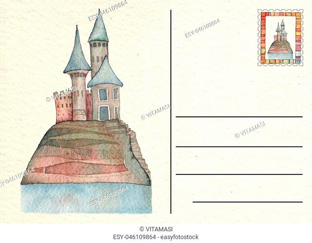 Hand drawn back postcard with Castle, watercolor illustration