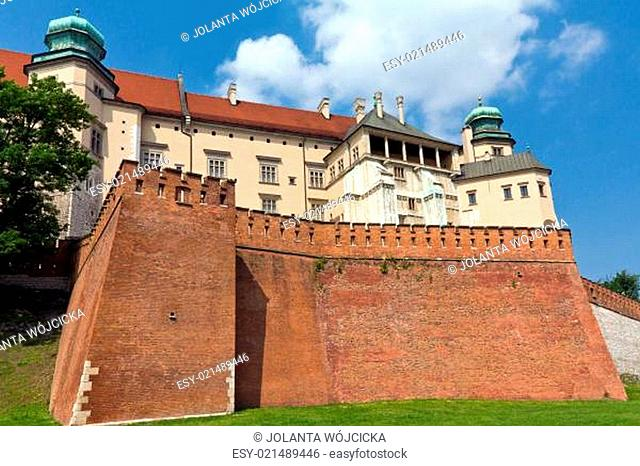 view of wawel royal castle in cracow in poland on blue sky background