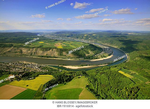 Aerial view, loop of the Rhine River near Oberspey, low water, Kamp-Bornhofen, Rhineland-Palatinate, Germany, Europe