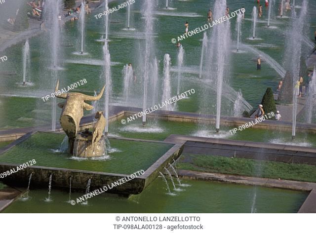 France, Paris. Palais de Chaillot's fountain