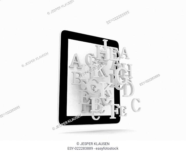 Tablet and 3d flying letters
