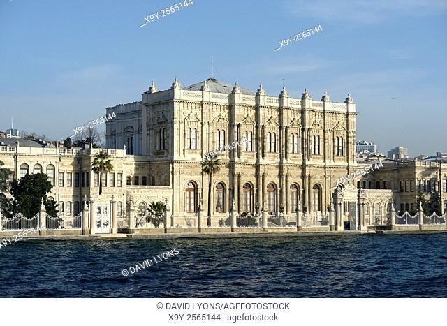 Dolmabahce Palace, Istanbul, Turkey, seen from the Bosphorus. Dates from 1843. Baroque, Rococo, Neoclassical and Ottoman styles