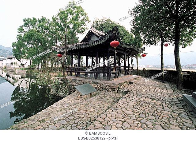 Wangxiong Pavilion in Cangpo Village , Nanxi River, Yongjia County, Zhejiang Province, People's Republic of China