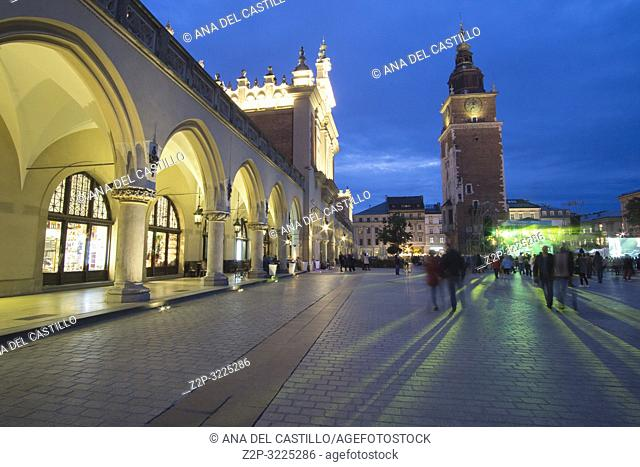 KRAKOW POLAND ON SEPTEMBER 23, 2018: The largest medieval european town square - the market square in Krakow with gothic Town Hall tower, Poland