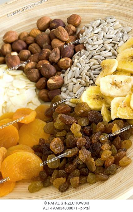 Plate of dried fruits and nuts