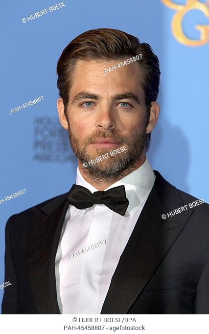 Chris Pine poses in the press room of the 71st Annual Golden Globe Awards aka Golden Globes at Hotel Beverly Hilton in Los Angeles, USA, on 12 January 2014