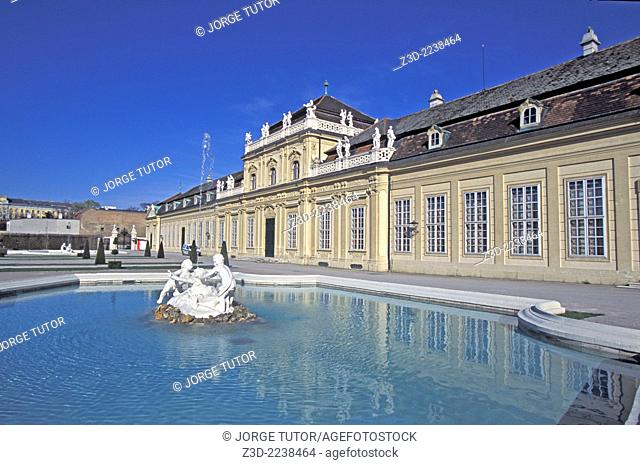 Fountain in the Lower Belvedere in Vienna. The Belvedere is a historic building complex in Vienna, Austria, consisting of two Baroque palaces the Upper and...