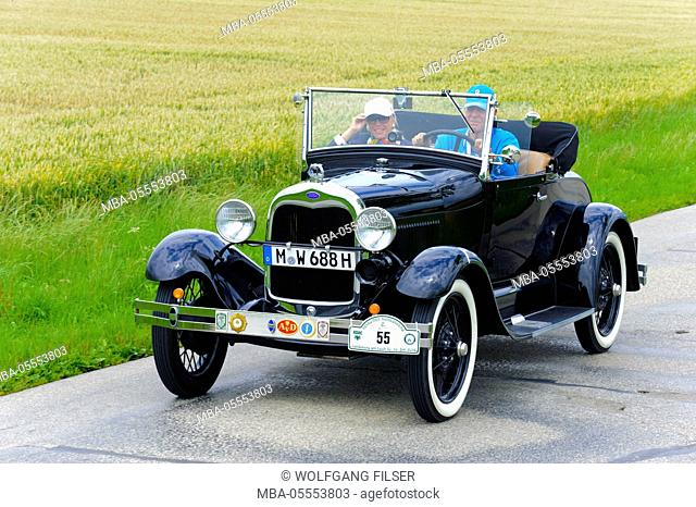 Old-timer rally 'Herkomer contention' in Landsberg in Lech for at least 80 year-old cars, here close Ford A, year of manufacture in 1928