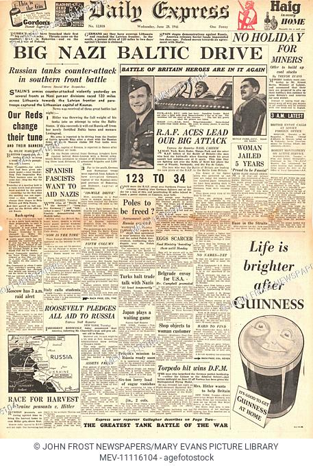1941 front page Daily Express German Army drive through Baltic States