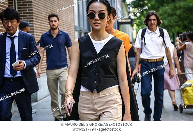 MILAN, Italy- September 20 2018: Yoyo Cao on the street during the Milan Fashion Week