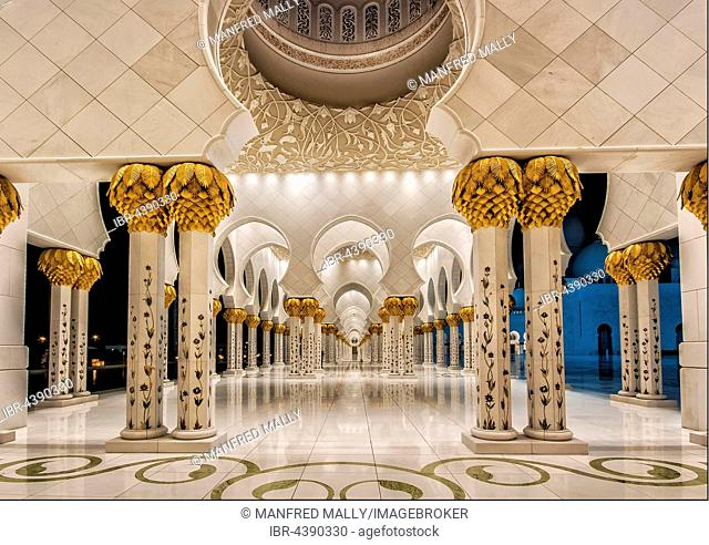 Portico, white mosque, Abu Dhabi, United Arab Emirates