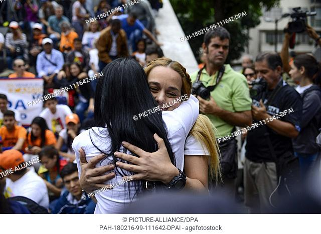 16 February 2018, Caracas, Venezuela: Lilian Tintori, wife of the imprisoned Venezuelan opposition politician Leopoldo Lopez