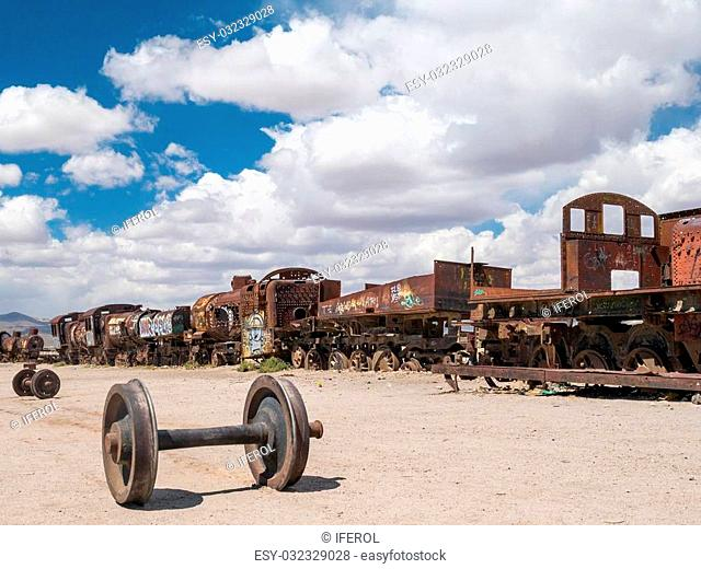 Vintage rusty train at the Train Cemetery in Uyuni desert, Bolivia, South America