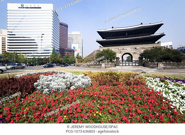 Namdaemun Gate with Flowers in Foreground