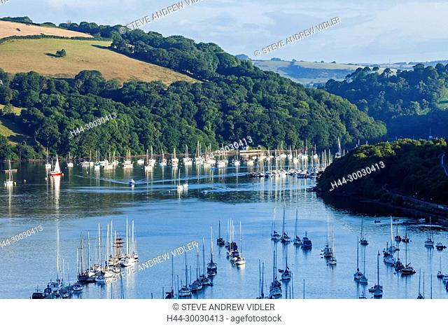 England, Devon, Dartmouth, View of The River Dart from Kingswear