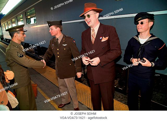 1940's reenactors say farewell before departing on Pearl Harbor Day Troop train reenactment from Los Angeles Union Station to San Diego