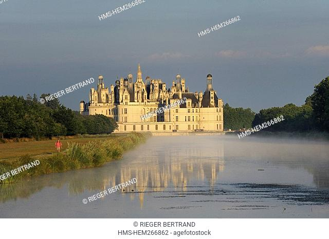 France, Loir et Cher, Loire Valley listed as World Heritage by UNESCO, Chateau de Chambord from the Grand canal