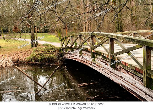 Footbridge in Jericho Park, Vancouver, BC, Canada, in winter