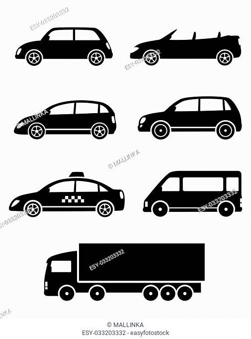 black isolated cars set on white background
