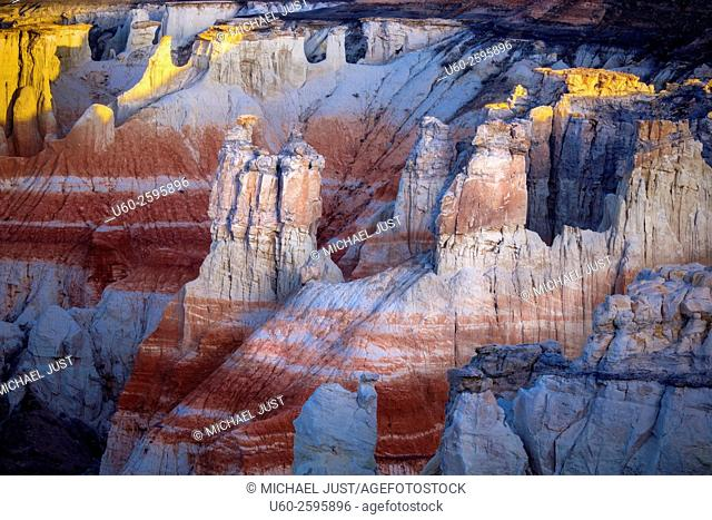 Bright colors and tall rock formations make up the landscape at Coalmine Canyon on the Hopi Indian Reservation in Northern Arizona