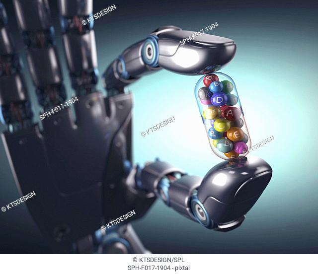 Robotic hand holding multivitamin, illustration