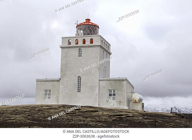 Dyrholaey lighthouse on the Dyrhólaey peninsula in Iceland