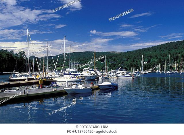 Northeast Harbor, ME, Maine, Mount Desert Island, Boats docked at the marina in Northeast Harbor on the Atlantic Ocean
