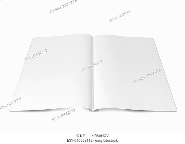 Open magazine or brochure. 3d illustration isolated on white background