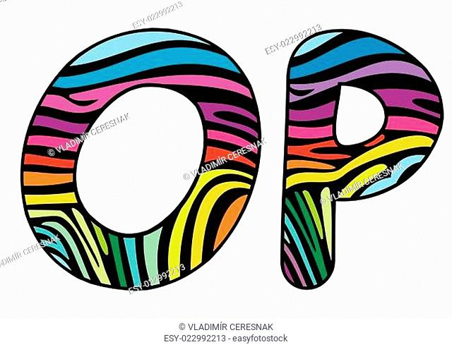 Background skin zebra shaped letter O,P
