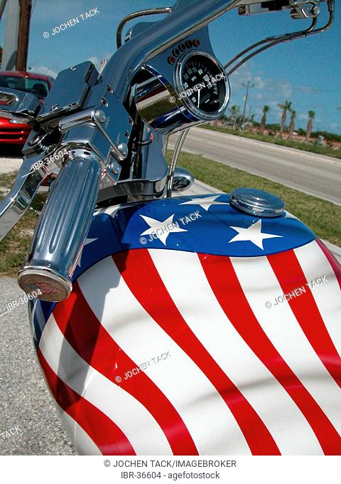 USA, Florida, Miami Beach: Patriotic tank of a Harley-Davidson