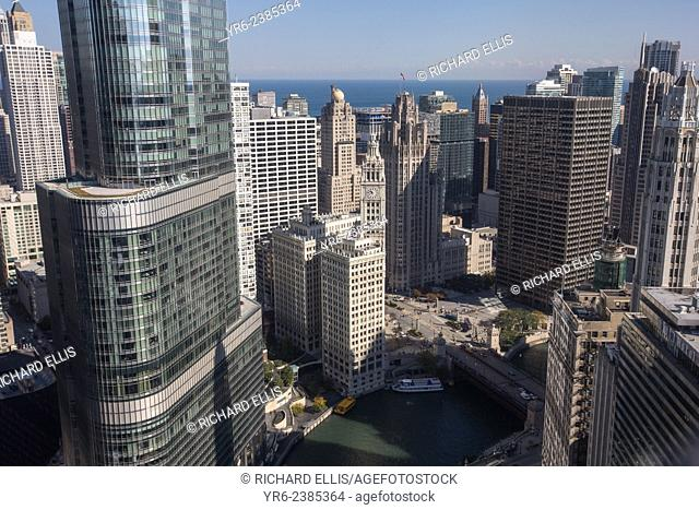 Wrigley Building and Tribune Tower looking toward the lakefront in Chicago, IL