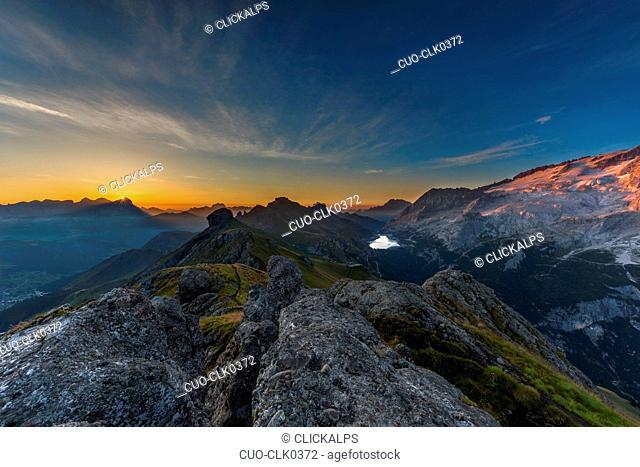 Sunrise towards Marmolada and Fedaia pass, Fassa Valley, Dolomites, Trentino-Alto Adige, Italy