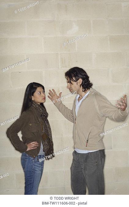 Multi-ethnic couple arguing