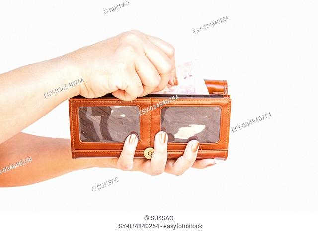 Hand holding wallet women isolated on white background. clipping path on picture