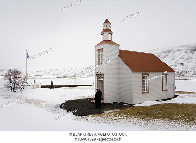 People leaving mass on Easter sunday  Goddalakirkja church, the church is 104 years old  Skagafjordur, Iceland