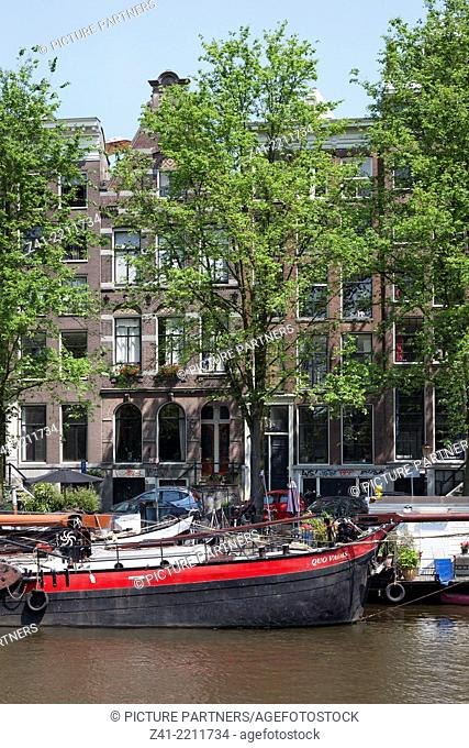 Houses and trees near the canal in Amsterdam