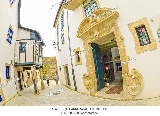 Street Scene, Tipycal Architecture, Old Town, Lugo City, Lugo, Galicia, Spain, Europe