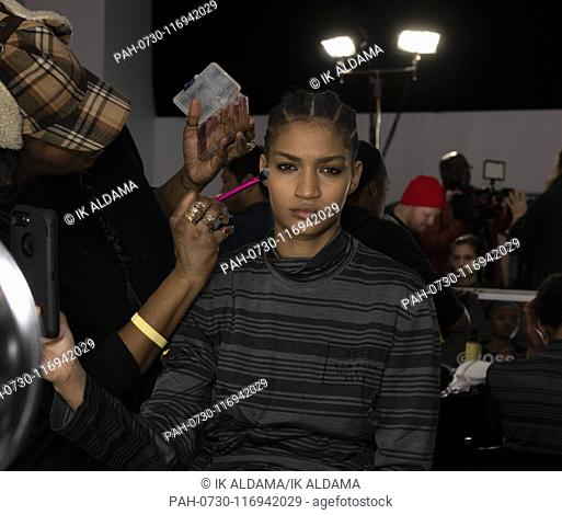 EXCLUSIVE - Backstage before BOSS show during New York Fashion Week, Menswear and womenswear Fall Winter 2019 collection - New York