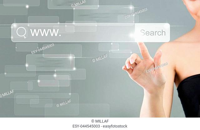 Internet Surfing. Female Hand and Virtual Browser with Search Icon