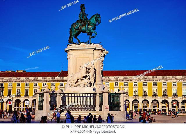 Portugal, Lisbon, Praca do Comercio, or Commerce Square. It is also known as Terreiro do Paco, or Palace Square after the Royal Palace which stood there and was...