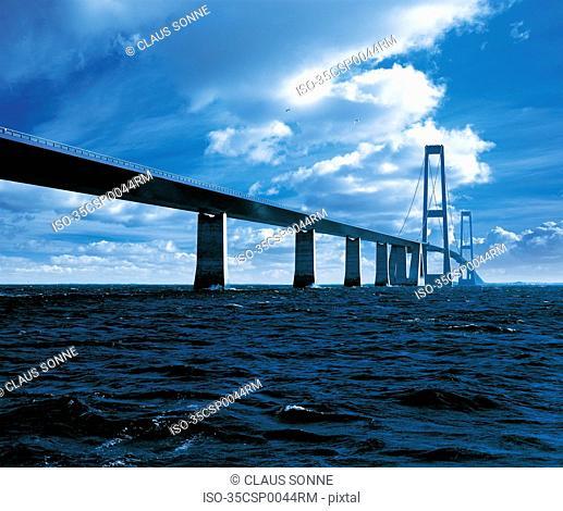 Great Belt Bridge spanning ocean