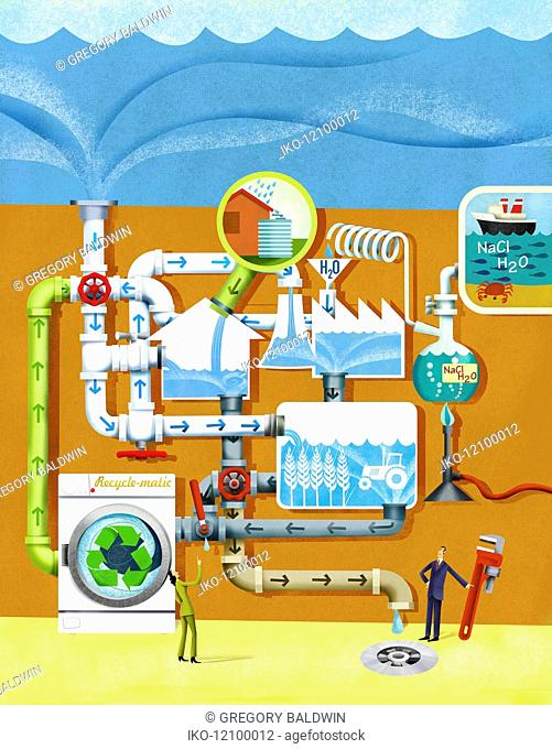 Businessman and businesswoman adjusting water treatment processing plant