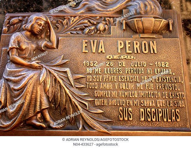 Burial place of Eva Peron in La Recoleta distric cemetery, Buenos Aires. Argentina