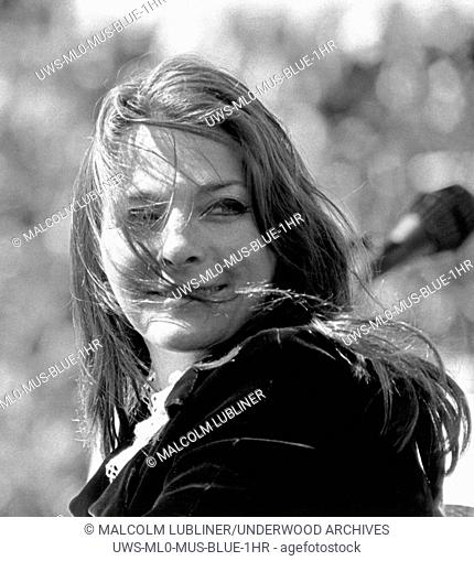 San Francisco, California:: c. 1968 A photo of singer and songwriter Judy Collins at an anti Vietnam war demonstration in Golden Gate Park