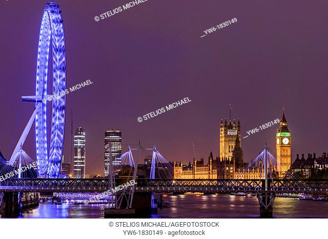 View of Houses of Parliament and the London Eye from Waterloo Bridge, London, England, Europe