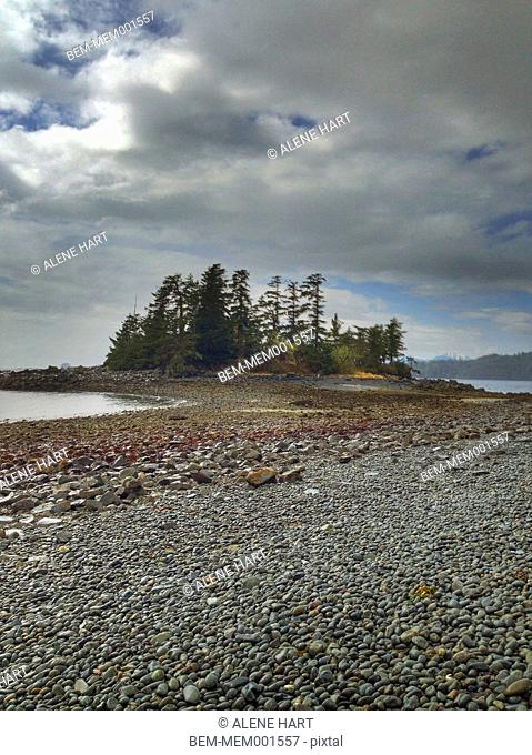 Forest island and rocky beach on remote lake