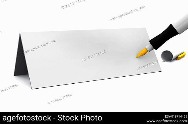 Blanko Tischkarte mit Füllfederhalter 02