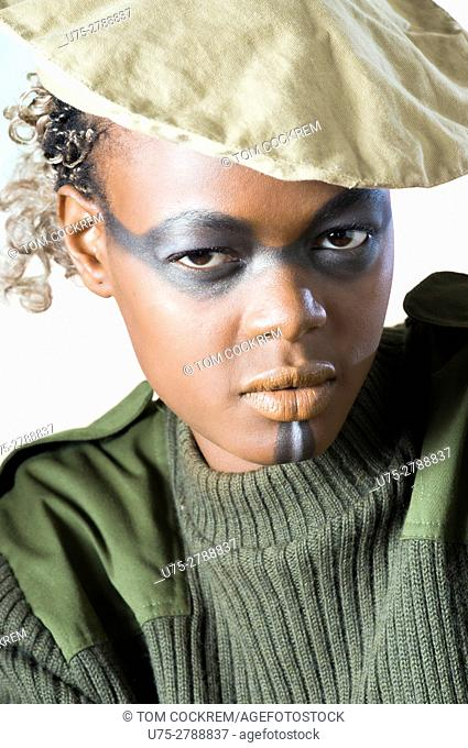 Young African woman in military garb