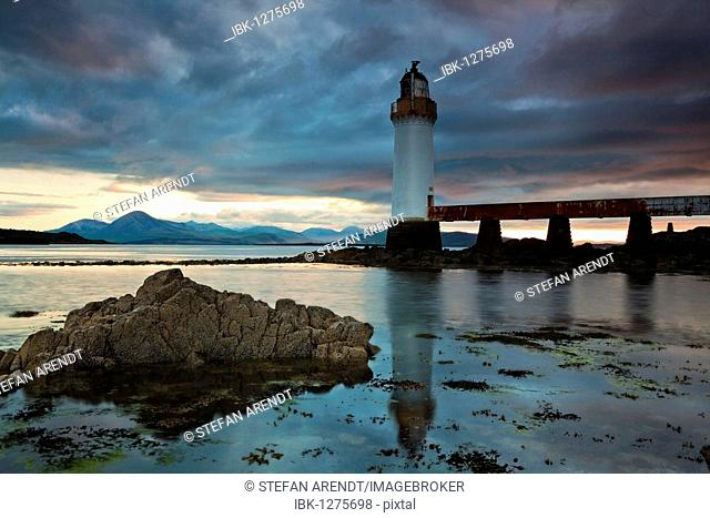 Lighthouse on the Isle of Skye connected to Scotland with a bridge, Scotland, United Kingdom, Europe