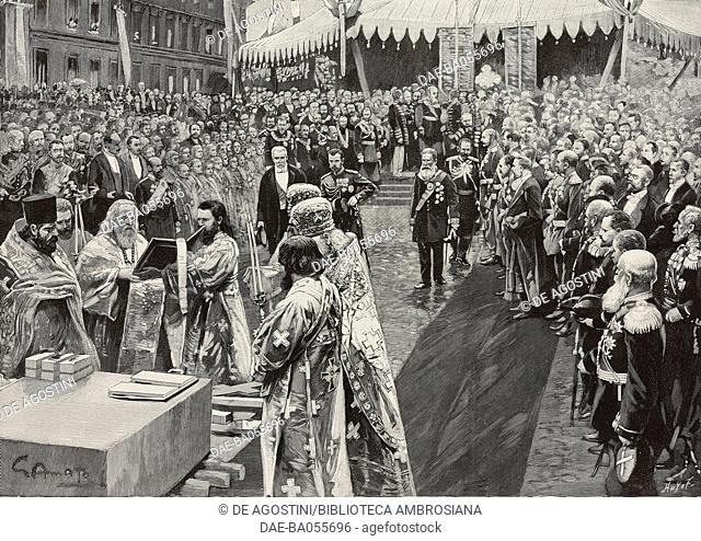The religious ceremony celebrating the laying of the foundation stone of Trinity Bridge over the Neva, built between 1897 and 1903 by the Societe de...